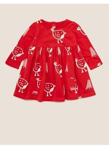 Marks & Spencer Saf Pamuklu Desenli Elbise Kırmızı